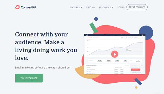 Otomatik yanıtlayıcı aracı ConvertKit'in web sitesi