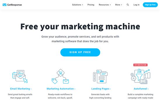 Otomasyon aracı GetResponse'nin web sitesi
