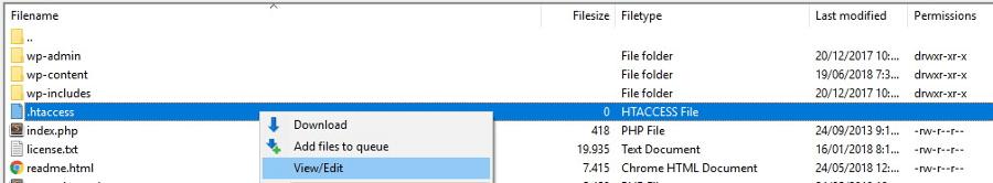 htaccess dosyasını düzenleme