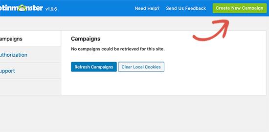 OptinMonster yeni kampanya oluştur