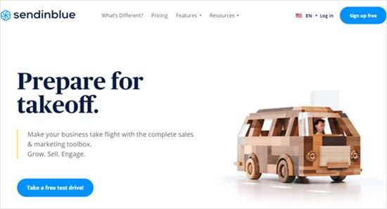 Otomatik yanıtlayıcı aracı Sendinblue'nun web sitesi