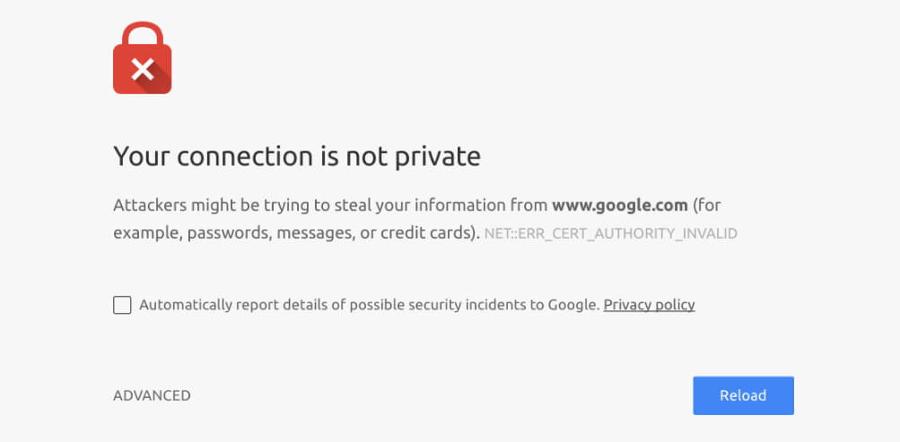 Chrome SSL hatası örneği