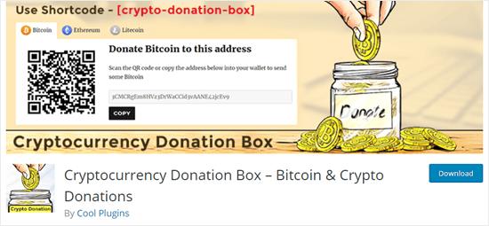 WordPress web sitesinde Cryptocurrency Bağış Kutusu uç kavanoz eklentisi