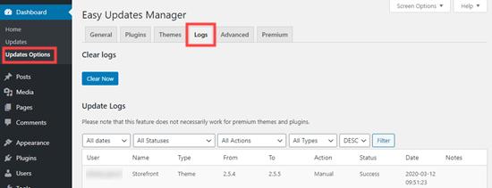Easy Updates Manager eklentisinin günlükler sekmesi