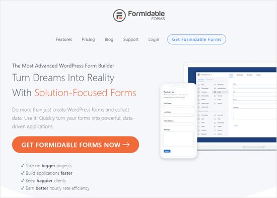 Formidable Forms eklentisinin web sitesi