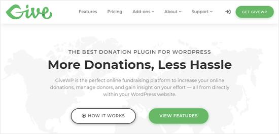 GiveWP eklentisinin web sitesi