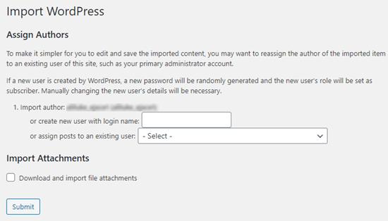 Sayfaları içe aktarırken hangi kullanıcıya atayacağınızı seçin