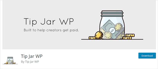 WordPress web sitesinde Tip Jar WP eklentisi