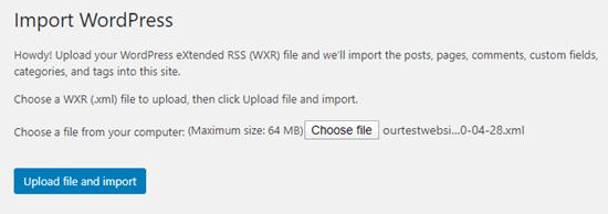 .Xml dosyanızı yükleyin ve yeni sitenize aktarmak için düğmeyi tıklayın