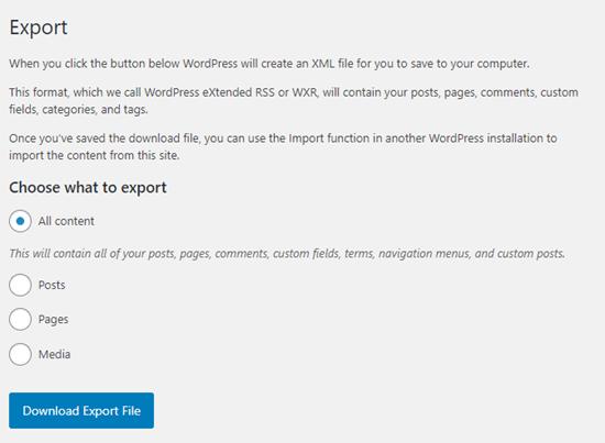 WordPress'teki yerleşik Dışa Aktarma seçenekleri