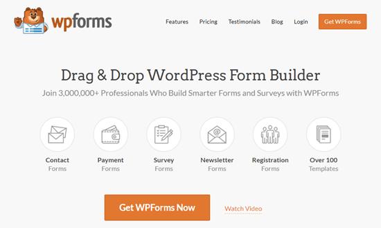 WPForms eklentisinin web sitesi