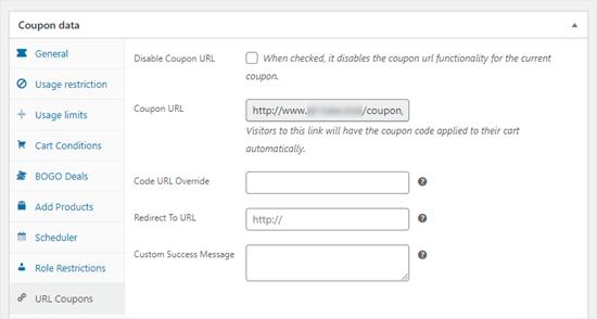 Kuponu müşterinin sepetine otomatik olarak ekleyen bir URL oluşturma