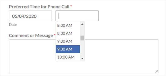 Varsayılan zaman seçici (30 dakikalık aralıklarla açılır liste)