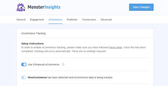 MonsterInsights'ta e-Ticaret ayarları