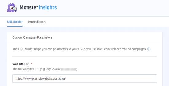 MonsterInsights URL oluşturucu aracı