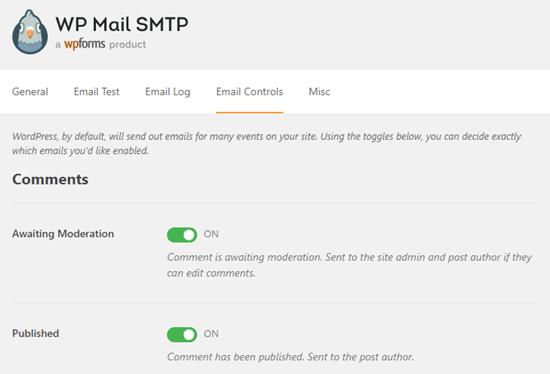 WP Mail SMTP e-posta bildirim kontrolleri