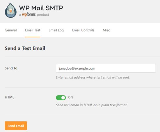 WP Mail SMTP ile bir test e-postası gönderme