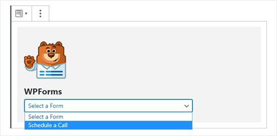 WPForms açılır listesinden doğru formu seçme