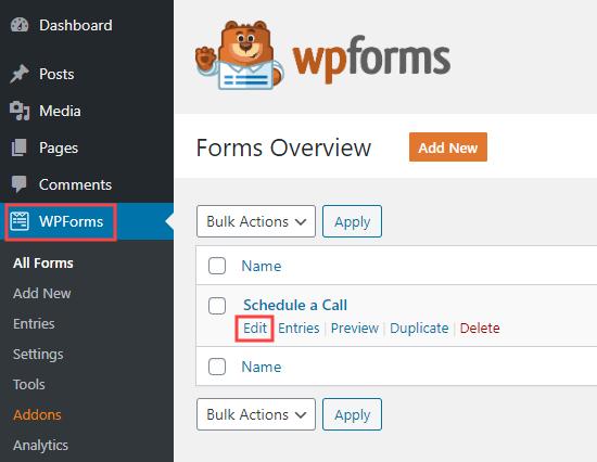 WPForms'da önceden oluşturduğunuz bir formu düzenleme