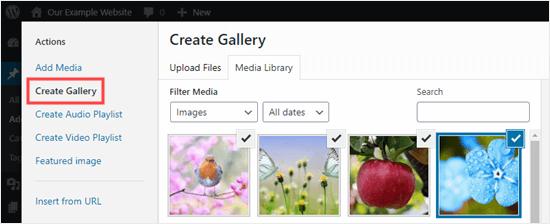 Klasik Editör'deki Medya Kitaplığını kullanarak yeni bir galeri oluşturma