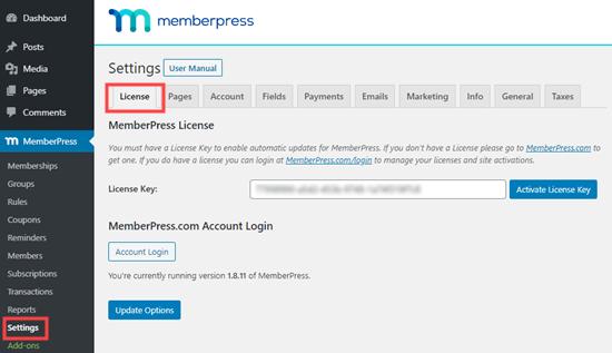 MemberPress lisans anahtarınızı girin