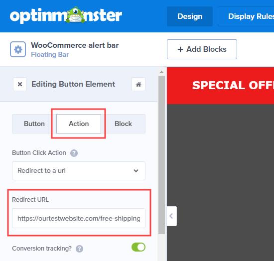 Düğmenin web sitenize nereye yönlendirileceğini düzenleyin