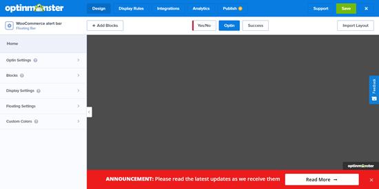 OptinMonster'daki varsayılan uyarı çubuğu şablonu