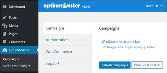 WordPress kontrol panelindeki kampanya listenizi yenileyin