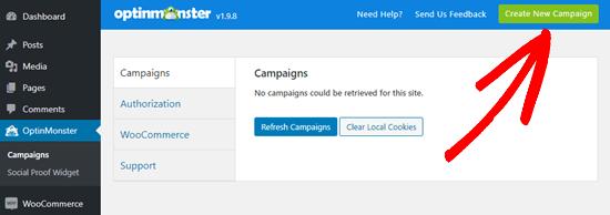 OptinMonster'da yeni bir kampanya oluşturma