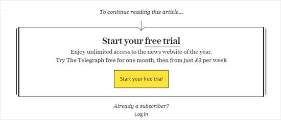 Daily Telegraph'ın ödeme duvarı