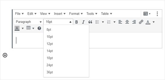 TinyMCE Advanced eklentisi tarafından eklenen blok düzenleyicide Klasik Paragraf bloğu