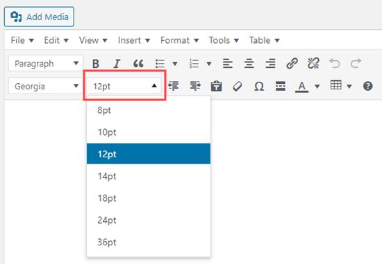 TinyMCE Advanced düzenleyicisini kullanarak yazı tipi boyutunu değiştirme