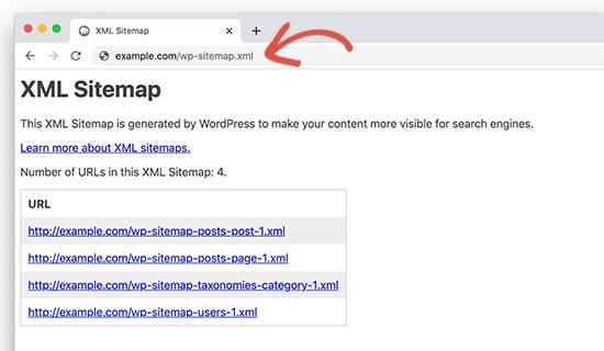 WordPress 5.5'te varsayılan WordPress tarafından oluşturulan site haritaları