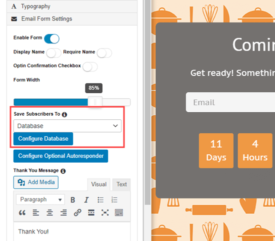 E-posta hizmetinizi SeedProd yakında sayfa oluşturucudaki açılır menüden seçin