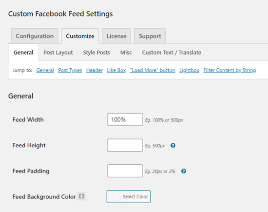 Özel Facebook Besleme eklentisi için Özelleştirme seçenekleri