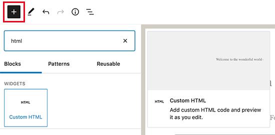 WordPress'e özel HTML bloğu ekleme