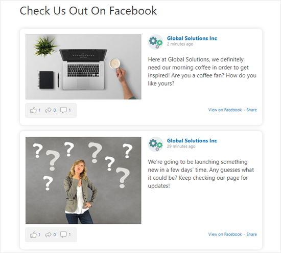 Facebook sayfamızın zaman çizelgesi WordPress sayfamızda görüntüleniyor