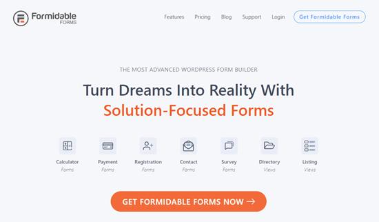 Formidable Forms web sitesi