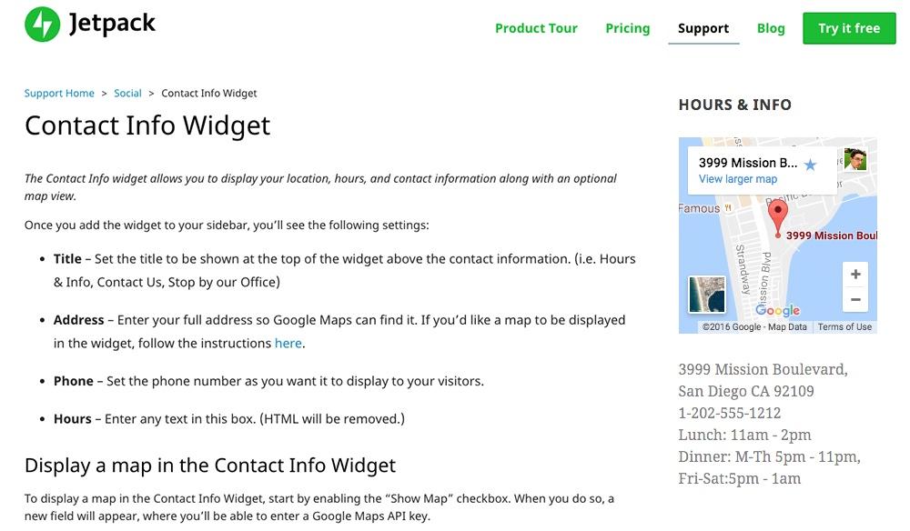Jetpack İletişim Bilgileri ve Harita Widget'ı
