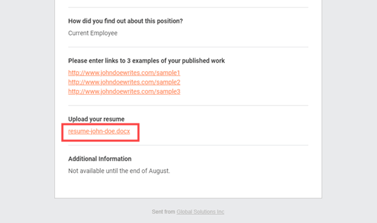 Özgeçmiş bağlantısı yerinde olan iş başvurusu e-posta bildirimi
