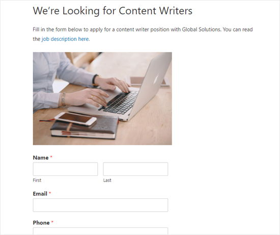 Web sitesindeki iş başvuru formu
