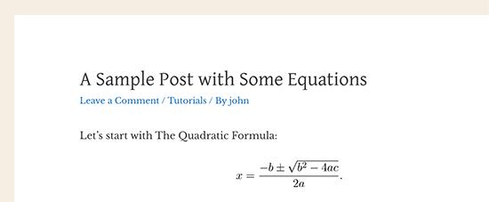 LaTeX kullanarak WordPress'te görüntülenen bir matematik denklemi
