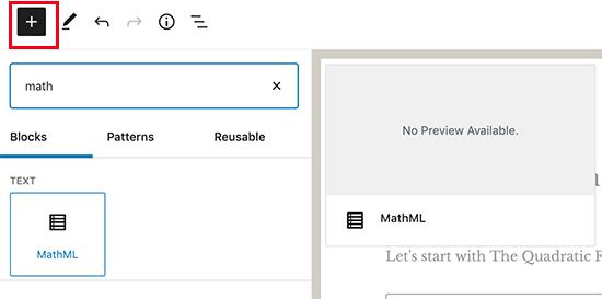 MathML bloğu ekleme