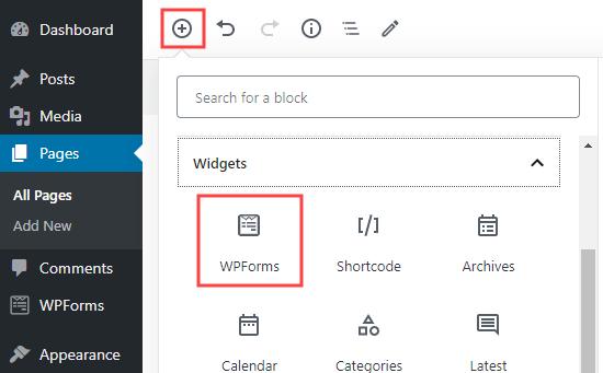 WordPress'te bir sayfaya yeni bir WPForms bloğu ekleme