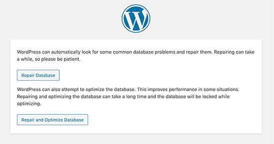 WordPress veritabanını onarın