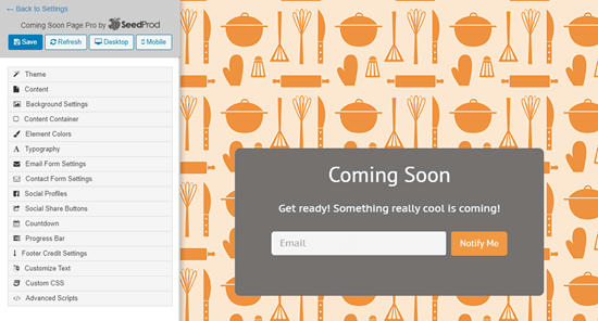 SeedProd 'Mutfak Kalıbı' şablonu