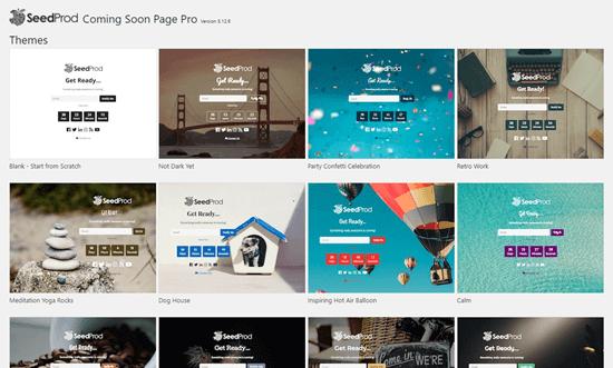 SeedProd'da yakında çıkacak sayfanız için bir şablon seçme