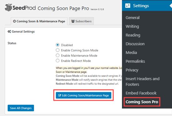 SeedProd'da yakında / bakım sayfasını düzenleme