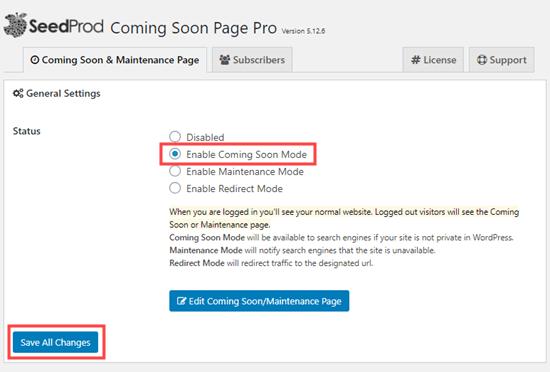 SeedProd'da yakında gelme modunu etkinleştir