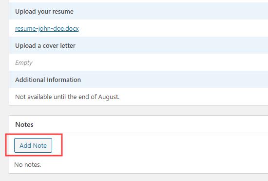 WPForms'da bir iş uygulamasına not ekleme